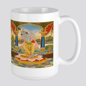 Krishna On Lotus Blossom Large Mug